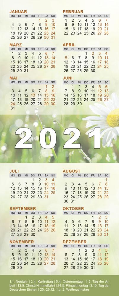 Lesezeichenkalender 2021